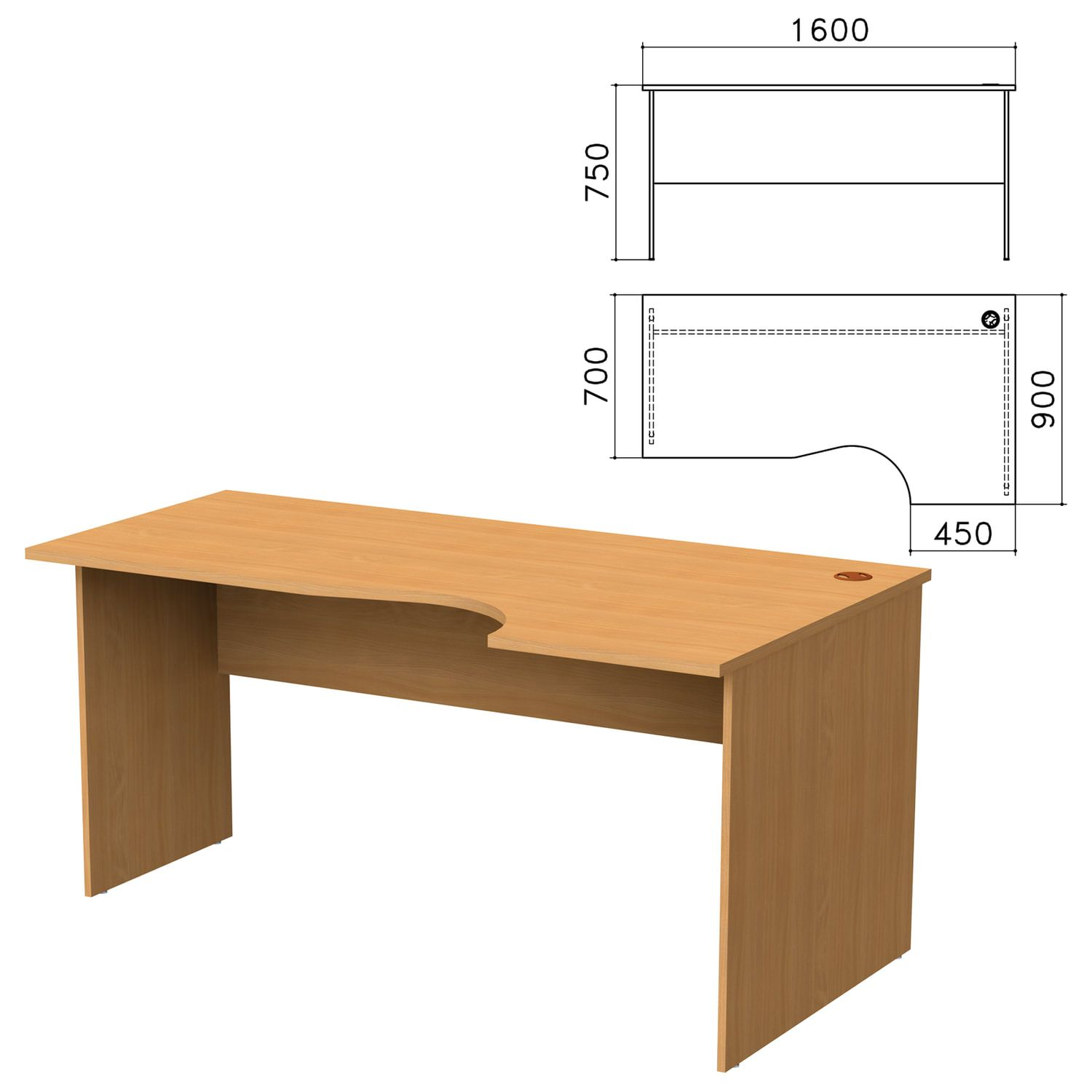 "Table written ergonomic ""Monolith"", 1600 x900s750 mm, right, color beech Bavaria"