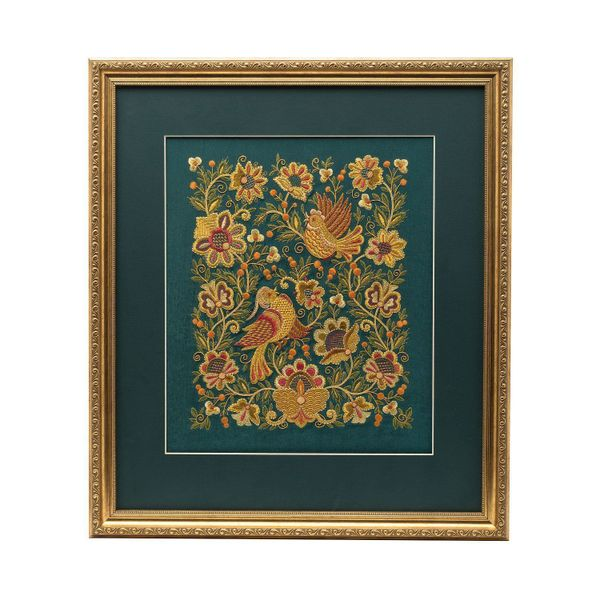 Mural 'Forest berry' green with gold embroidery