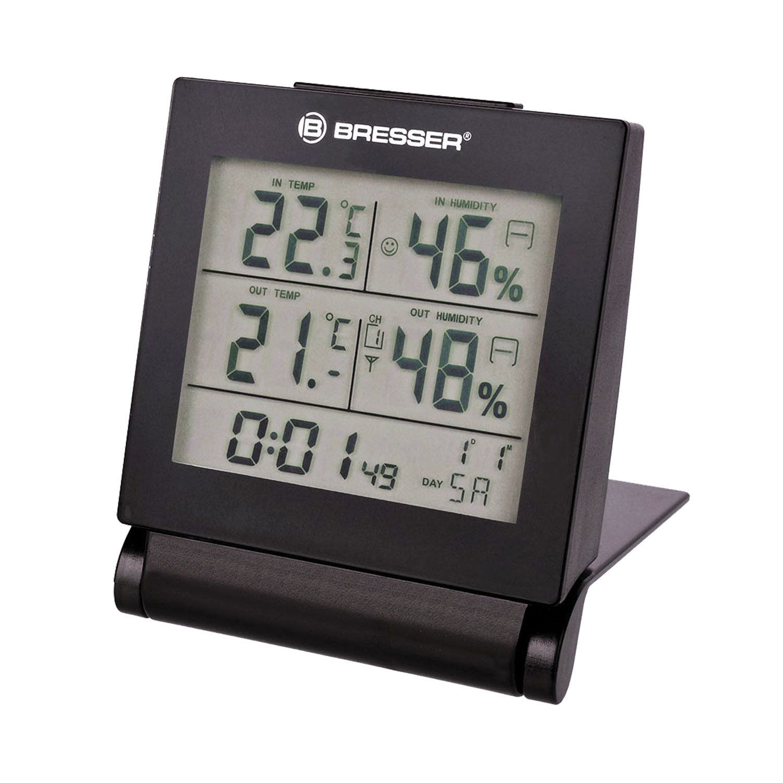 Meteorological station BRESSER MyTime Travel AlarmClock, temperature sensor, hygrometer, alarm, calendar, black