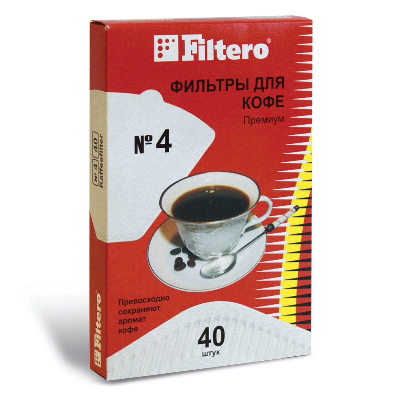 FILTERO PREMIUM No.4 filter for coffee makers, paper, bleached, 40 pieces