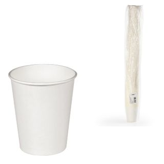 FORMATION / Disposable glasses 165 ml, SET 100 pcs., Paper single-layer, white, cold / hot, for vending