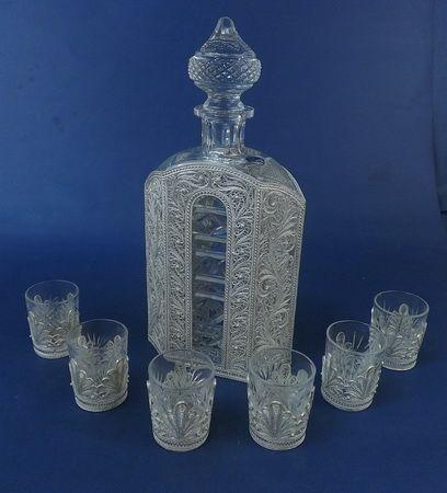 Kazakovskaya Filigree / 'Kremlin' set for wine (damask, 6 glasses - winter patterns)