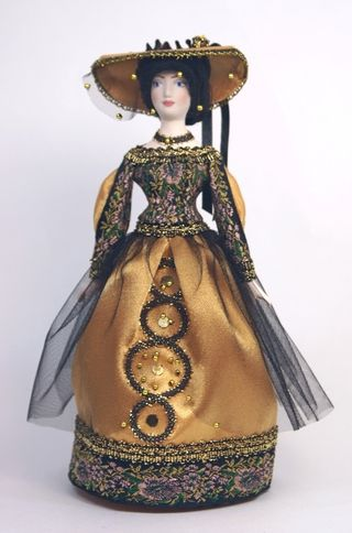 Doll gift porcelain. The lady in black.
