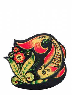 """Khokhloma painting / Wooden magnet """"Fish"""""""