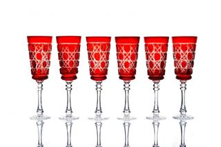 "Set of crystal glasses ""Imperial"" red drawing ""Russian stone"" 6 pieces"