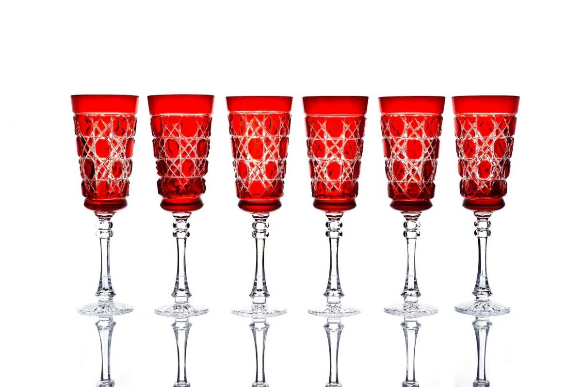 """Set of crystal glasses """"Imperial"""" red drawing """"Russian stone"""" 6 pieces"""