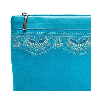"""Suede cosmetic bag """"Voskhod"""" turquoise with silver embroidery"""