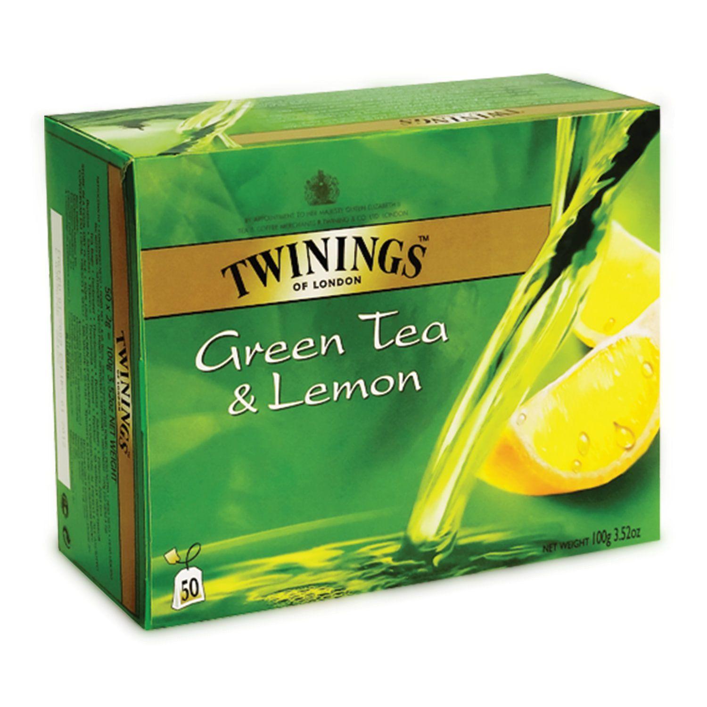 """TWININGS / Tea """"Green tea Lemon"""" green with lemon flavor, 50 sachets"""