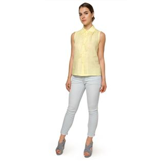 """Women's blouse """"Watercolor"""" yellow color with silk embroidery"""