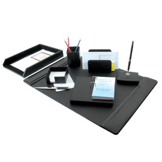 Set table GALANT genuine leather, 8 items under the smooth skin, black