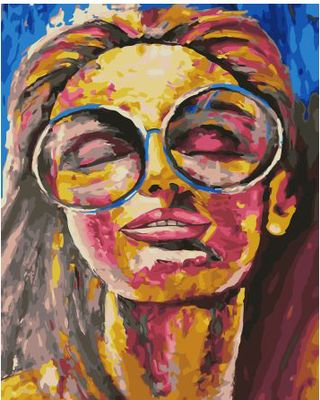 """Picture according to the numbers """"Girl with Glasses"""" 40x50 cm"""