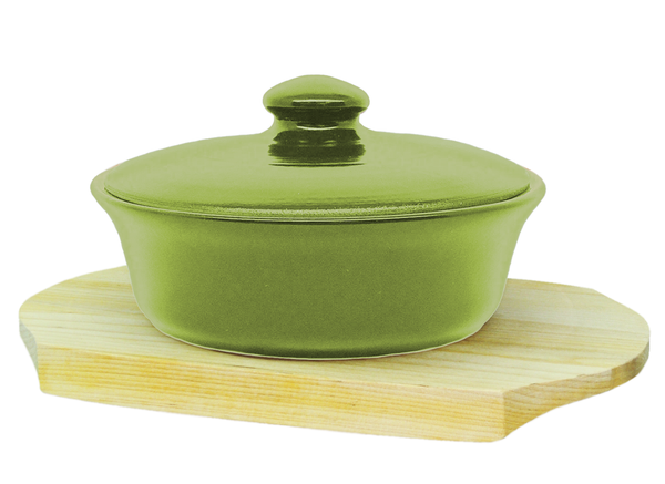 Vyatka ceramics / 0.5 L baking dish on a wooden stand (light green)