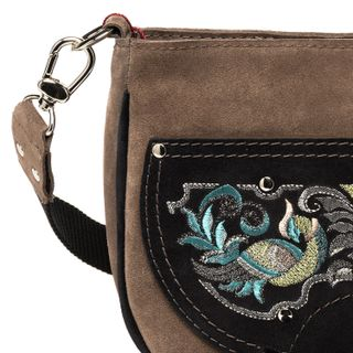 "Suede bag ""the Firebird"" brown with gold embroidery"