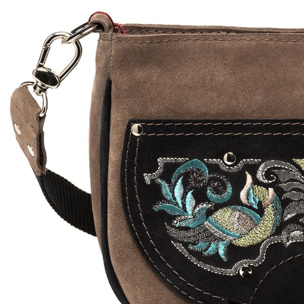 Suede bag 'the Firebird' brown with gold embroidery