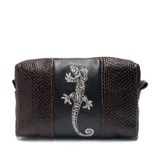 """Leather cosmetic bag """"Lizard"""" black with silver embroidery"""