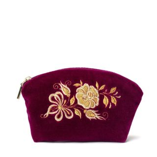 """Velvet cosmetic bag """"Happiness"""" purple with gold embroidery"""