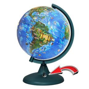 210mm baby globe with battery backlight (battery included) on a plastic stand