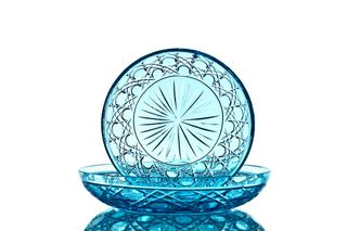 Crystal decorative turquoise plate