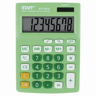 Desktop calculator STAFF STF-8318, COMPACT (145х103 mm), 8 digits, dual power supply, GREEN