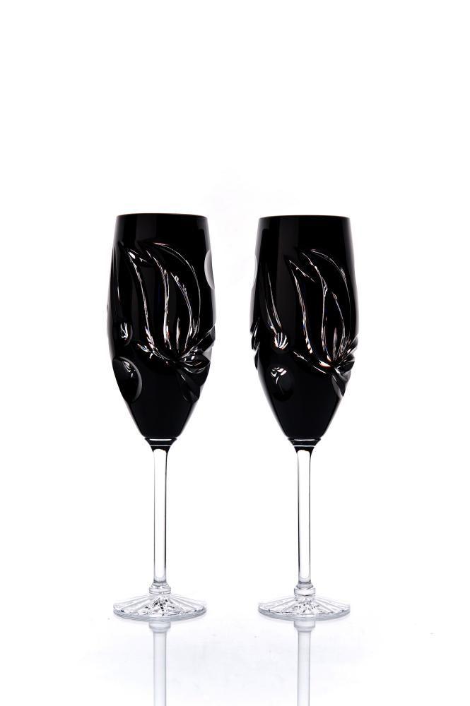 "Set of crystal glasses ""Vasil"" black 6 pieces"