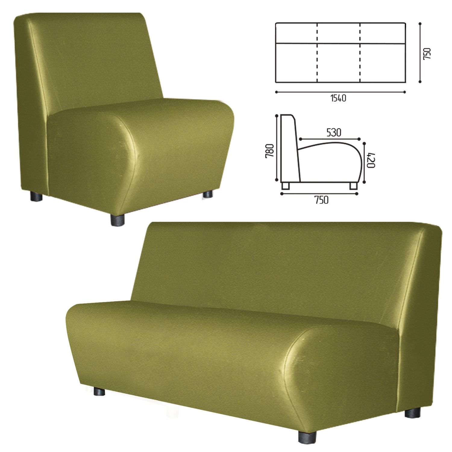 """GARTLEX / Sofa soft three-seater """"Cloud"""", """"V-600"""", 1540x750x780 mm, without armrests, eco-leather, light green"""