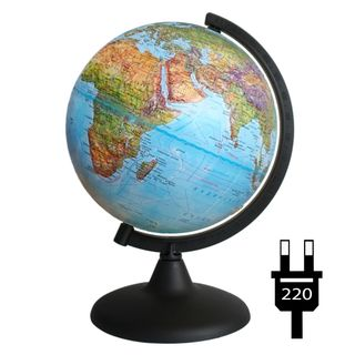Geographical relief globe with a diameter of 200 mm with backlight