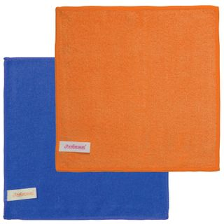 LYUBASHA / Universal napkins ECONOMY, microfiber, 25x25 cm, blue + orange, SET of 2 pcs.