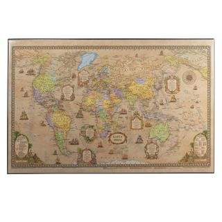 Mat-lined Board for writing (590х380 mm), with a map of the world retro, DPS