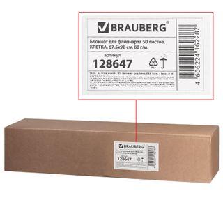 Notepad for flipchart BRAUBERG, 50 sheets, cell, 67,5х98 cm, 80 g/m2