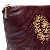 Leather cosmetic bag 'Camellia' Burgundy with gold embroidery