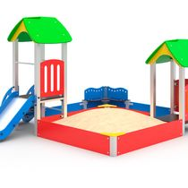 Sand court with a slide and a house C 304 is a bright children's play complex for kids aged 3 years and over.