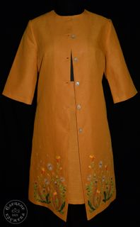 Coat womens linen embroidered С11782