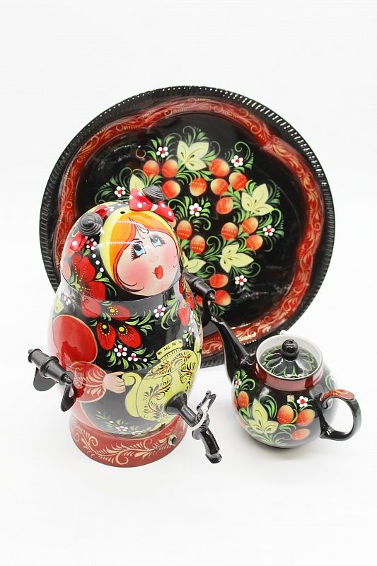 "Dulevo porcelain / Electric samovar 3 l. ""Matryoshka"" in a set with auto off."