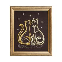 Mural 'Cat' brown with gold embroidery