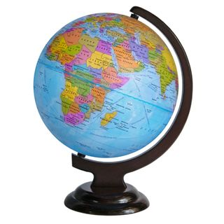 Political globe with a diameter of 250 mm on wooden stand