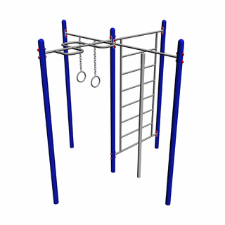 Sports complex: zigzag for pulling up, crossbar with rope, crossbar with rings and MM-53 ladder