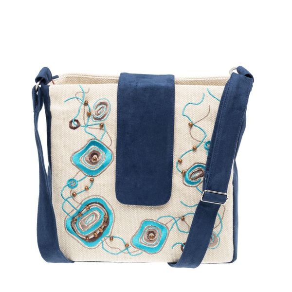 Linen bag Orion blue with silk embroidery