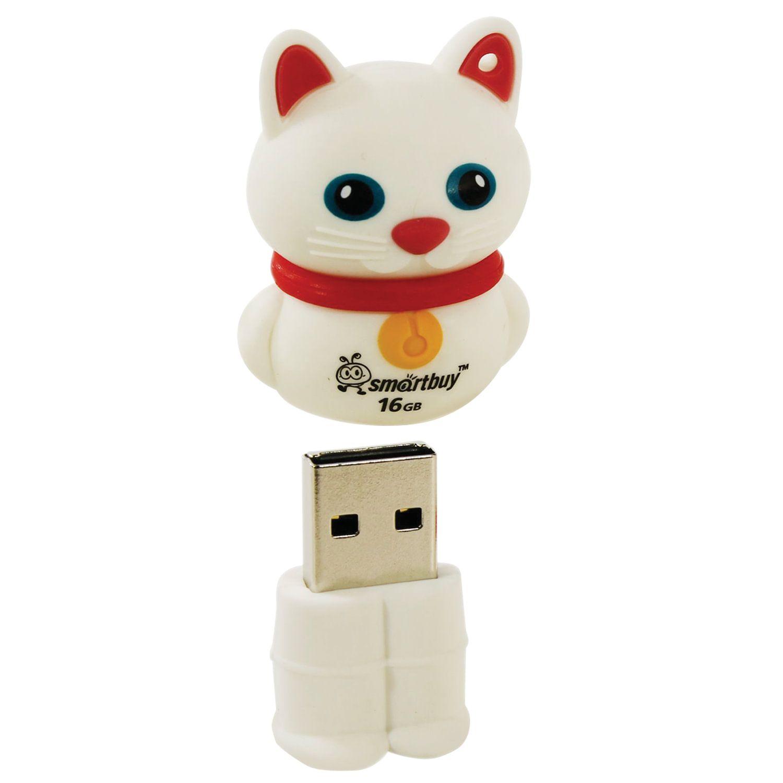 """SMARTBUY / Souvenir flash drive 16 GB, Wild """"Kitten"""", USB 2.0, white"""