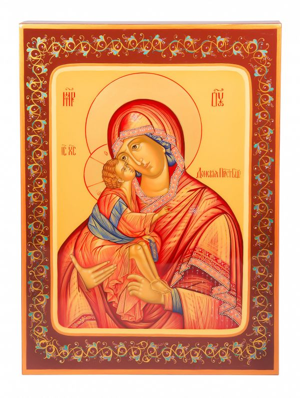 "Khokhloma painting / Icon ""Our Lady of the Don"" 245х335 mm"