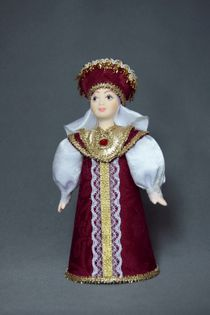 Doll gift porcelain. Women's festive costume of the Prince. 16-18 century Russia.