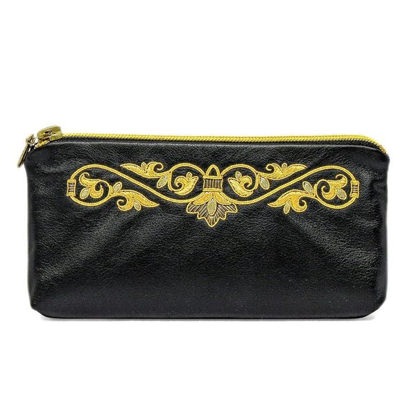 Leather eyeglass case 'Autumn' in black with gold embroidery