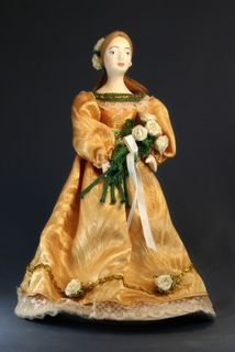 Doll gift porcelain. A young lady in a summer dress with a bouquet of flowers. 1830s