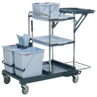 "VILEDA / ""Origo 100FX"" harvest trolley, buckets 2x25 l, 2x6 l, tunnel wringing, 2 trays, trash bag holder for 120 l"