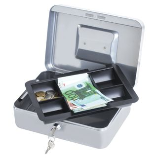 Box for money, valuables, documents, stamps, 90x180x250 mm, key lock, silver, BRAUBERG