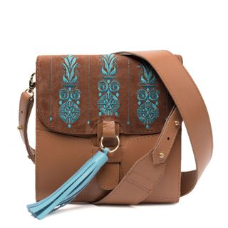 "Leather bag ""Astrid"" brown with silk embroidery"
