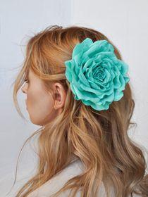 Brooch hairpin rose aquamarine