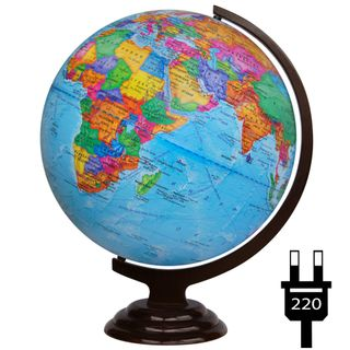 Political globe with a diameter of 420 mm on a wooden stand with backlight