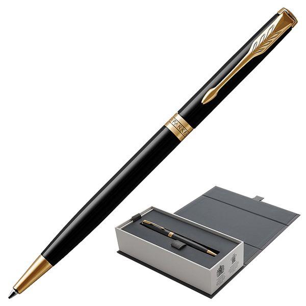 Ballpoint pen PARKER 'Sonnet Lacquer Black GT Core Slim', slim case, black glossy lacquer, gold plated parts, black