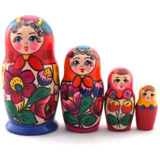 Matryoshka in red scarf 4 dolls Polkhovsky Maidan