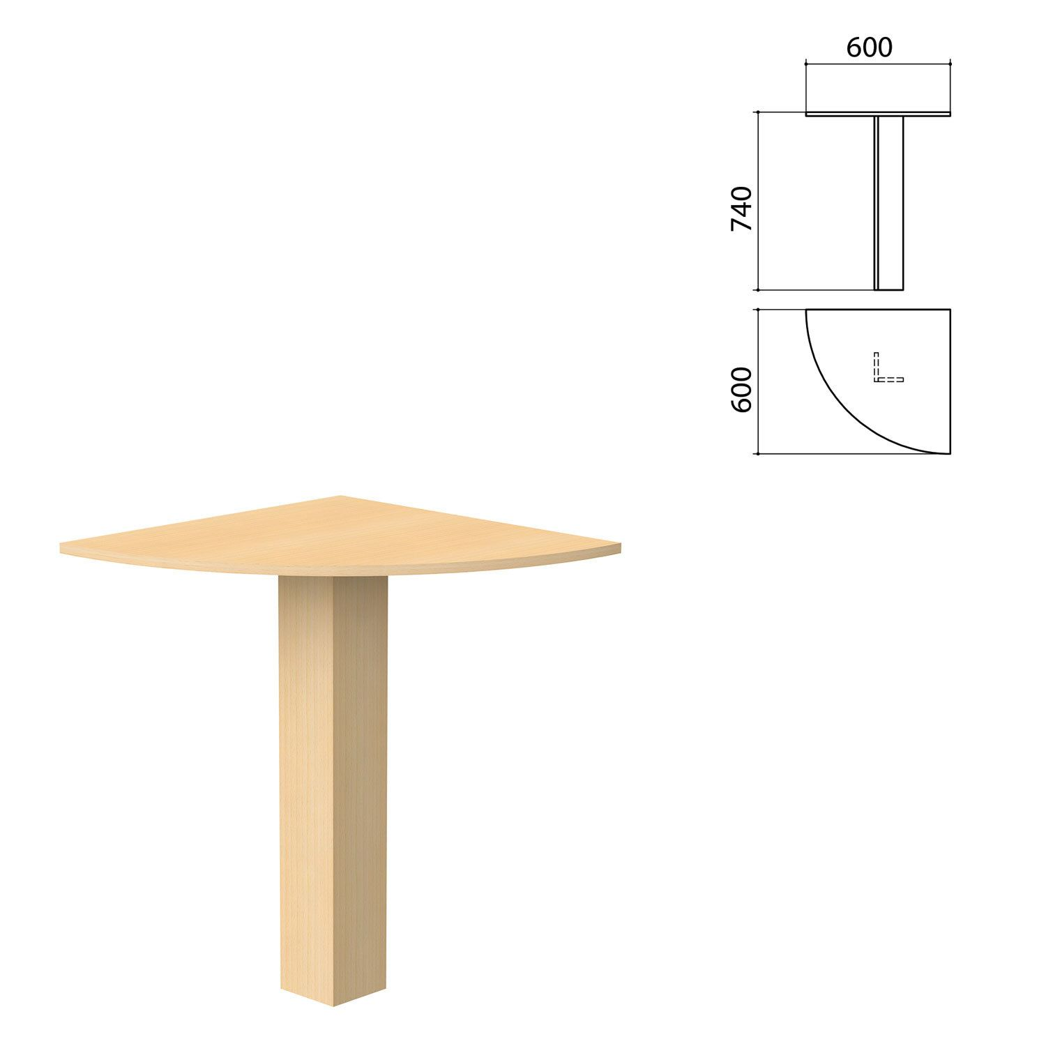 "Table of the corner ""Budget"" 600 x600 x740 mm, beech natural"